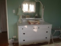 White dresser with mirror in Aurora, Illinois