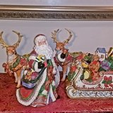 Santa And Sleigh With Reindeer Candle Holders in Joliet, Illinois