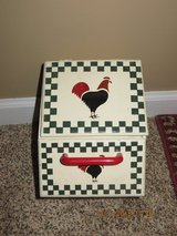 Vintage Stenciled Chicken Hanging Kitchen Box with Drawer and Top-Hinged Section in Joliet, Illinois