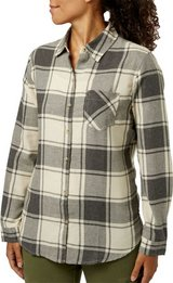 NWT Gray Ivory Field & Stream Large Women's Classic Lightweight Flannel White Black in Kingwood, Texas