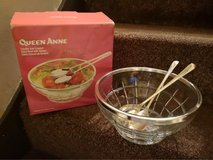 boxed glass salad bowl with serving spoons in Lakenheath, UK