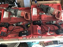 Milwaukee 18 Volt Hammer Drill Kit with 2 Batteries, Charger & Sawzall in St. Charles, Illinois