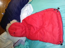 Red and navy blue hooded jacket for dogs in Bolingbrook, Illinois