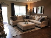 Large Sectional Sofa & Ottoman - Gallery Furniture in Pasadena, Texas
