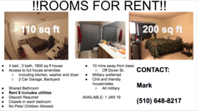 TRAVIS AFB ROOMS FOR RENT in Fairfield, California