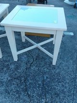 Cream End Table with Frosted Glass 1911-94 in Camp Lejeune, North Carolina
