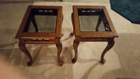2 all wood oak with glass top in Plainfield, Illinois