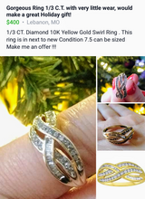 Gorgeous 1/3 C.T.  10K Ring in Springfield, Missouri