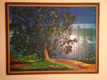 "Large textured naturescape painting 52"" x 40"" with frame in Bartlett, Illinois"