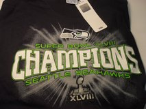 SEATTLE SEAHAWKS XLVIII CHAMPIONS Adult T-Shirts (Navy & Neon / 4 sizes) *** NEW in Tacoma, Washington