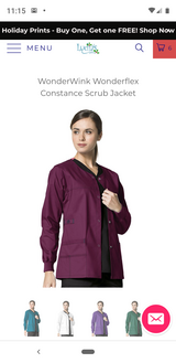 Wonderwink Scrub Jacket (Wine) Medium in Pasadena, Texas