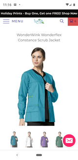 Wonderwink Scrub Jacket (Real Teal) Medium in Pasadena, Texas