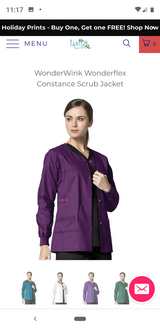 Wonderwink Scrub Jacket (Eggplant) Medium in Pasadena, Texas
