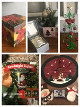 9 Christmas items- tree skirt, snowman decor, bell, Goodnight Lights in Byron, Georgia