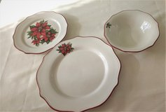 Christmas Poinsettia Dinner and Salad Plates and Bowls in Bartlett, Illinois