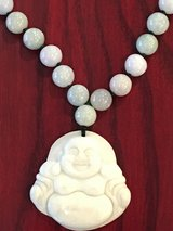 New NATURAL JADE PENDANT NECKLACE W/ HAPPY BUDDHA DESIGN in Okinawa, Japan
