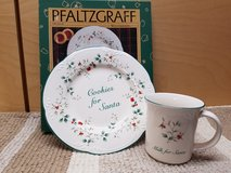 Pfaltzgraff Cookies and milk for santa plate and mug in Naperville, Illinois