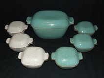 Glidden MCM Pottery Fong Chow Roaster & 6 Mini Casserole Dishes in Lockport, Illinois