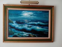 A VINTAGE OIL PAINTING ON CANVAS WITH LIGHTING in Orland Park, Illinois