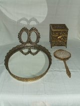 Ornate vintage Vanity Set 4pc Brass / Cherubs & Flowers in Chicago, Illinois