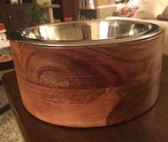 Wood/Metal Dog Bowl in Yorkville, Illinois