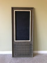 FARMHOUSE HANGING CHALKBOARD WITH METAL WIRE BASKET in Lockport, Illinois