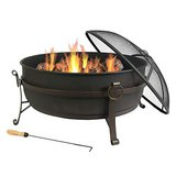 Sunnydaze Large Outdoor Fire Pit with Spark Screen, 34 Inch Steel Cauldron in Byron, Georgia