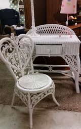 Wicker desk/vanity & Chair in Fort Campbell, Kentucky