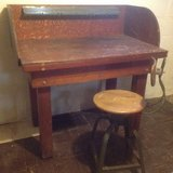 Vintage work bench and chair in Chicago, Illinois