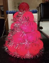 Vintage Small Red Light Up Christmas Tree w/Silver Garland in St. Charles, Illinois