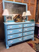 antique chalk painted dresser with mirror in Camp Lejeune, North Carolina
