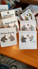 Unicorn Post Earrings Gold & Silver in 29 Palms, California