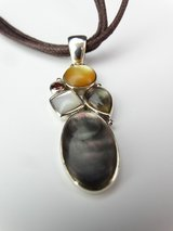 925 Silver, Abalone, & Mother-of-Pearl Pendant Necklace in League City, Texas