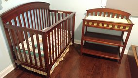Crib, mattress and baby changing table in Orland Park, Illinois