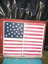 American Flag painted on Vintage window in Cleveland, Texas