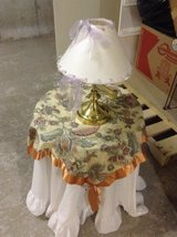 Little Table with White Tablecloth, Decorative Tablecloth and Lamp REDUCED in Ramstein, Germany