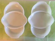 2 Vintage Fire King White Milk Glass Divided Relish Dishes in Plainfield, Illinois