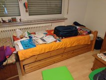 Single wooden bed with drawers and mattress, desk & schrank in Ramstein, Germany