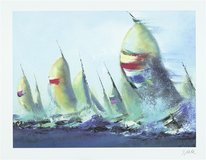 """July Sails"" by Victor Spahn 28x38 seriolithograph, Framed Wall Art from art gallery in Houston, Texas"
