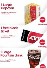 Movie Night $25 - - 2 AMC Black Tickets, 2 Large Drinks, 1 Large Popcorn in Aurora, Illinois