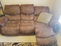 Brown microfiber couch with 2 recliners in Houston, Texas