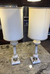 Vintage Lamps w/Original Lampshades.Circa 1950's. Ceramic/Marble/Brass. Work with LED or 3 w... in Bolingbrook, Illinois