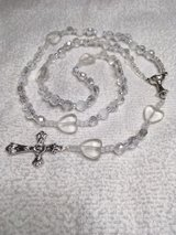 Rosary First Communion Girl Crystal Fire Polished Heart Pater Beads Chalice Medal Italian Silver... in Kingwood, Texas