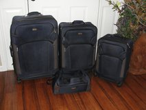 "'CHAPS"" 4 PC LUGGAGE SUITCASE SET NAVY BLUE (2 SUITCASES 1 CARRY ON 1 SATCHEL) in Camp Lejeune, North Carolina"