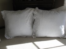2 Large Euro Pillow Forms with Pretty White Shams in Bolingbrook, Illinois