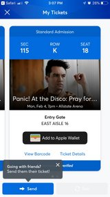 Panic at the Disco tickets x 2 in Lockport, Illinois
