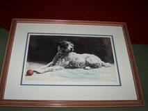 1939 Hand Colored Watercolor of Terrier Dog Titled Ready in Joliet, Illinois
