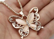 Rose Gold Opal Butterfly Pendant Necklace Sweater Chain Woman Fashion Hot Sale in Moody AFB, Georgia