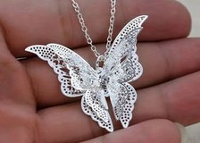 Silver-plated openwork three-dimensional butterfly necklace, is the most beautiful gift of angels in Moody AFB, Georgia