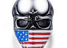 Titanium American flag skull ring for cool men jewelry (Size 10) in Moody AFB, Georgia